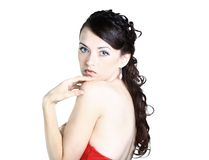 Beautiful girl in the red dress Stock Image