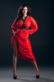 Beautiful girl in red dress royalty free stock image