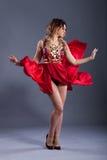 Beautiful girl in a red dress. Beautiful girl in the red dress. dress develops in the wind Royalty Free Stock Photo