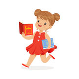 Beautiful girl in red dress running and reading a book, kid enjoying reading, colorful character vector Illustration. On a white background Stock Images