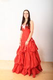 Beautiful girl in red evening dress Royalty Free Stock Images