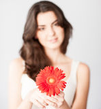 Beautiful girl with red flower Stock Images