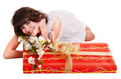 Beautiful girl with red gift box and flower. Royalty Free Stock Photo