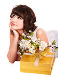 Beautiful girl with red gift box and flower. Royalty Free Stock Image