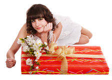 Beautiful girl with red gift box and flower. Stock Photography