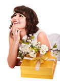 Beautiful girl with red gift box and flower. Stock Photo