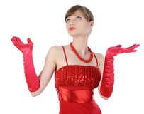 Beautiful girl in red gloves raised their hands. Stock Photo