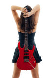 Beautiful girl with red guitar on white Stock Image