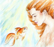 Beautiful girl with red hair and goldfish in water. Watercolor Stock Photos