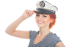 Beautiful girl with red hair sailor Royalty Free Stock Photos