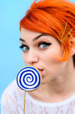 The beautiful girl with red hair in style of fashion of 60 years. Model Royalty Free Stock Photography