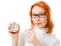 A beautiful girl with red hair wearing glasses Royalty Free Stock Photos