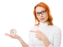 Beautiful girl with red hair wearing glasses Royalty Free Stock Image