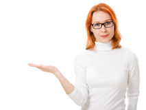 Beautiful girl with red hair wearing glasses Royalty Free Stock Photo