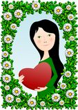 Beautiful girl with a red heart Royalty Free Stock Photo