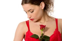 Beautiful girl in red lingerie Stock Photography