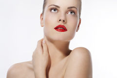 Beautiful girl with red lips Stock Photo