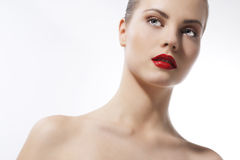 Beautiful girl with red lips Royalty Free Stock Photography