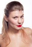 Beautiful girl with red lips Stock Images