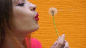 Beautiful girl with red lips blowing on a dandelion. In slow motion stock footage