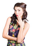 Beautiful girl with red lips expressing surprise Royalty Free Stock Image