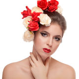 Beautiful girl with red lips and flowers in head Royalty Free Stock Photos