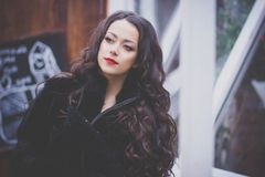 Beautiful girl with red lipstick and long beautiful hair Stock Photography