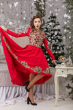 Beautiful girl in red long dress at the Christmas tree Stock Photography