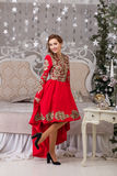 Beautiful girl in red long dress at the Christmas tree Stock Images