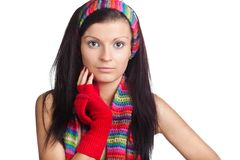 Beautiful girl with red mitten and neckerchief Stock Image