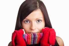 Beautiful girl with red mitten and neckerchief Royalty Free Stock Photography