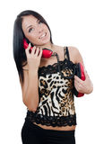 The beautiful girl with red phone royalty free stock photography