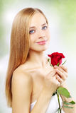Beautiful girl with red rose Stock Photos