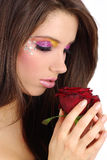 Beautiful girl with red rose Royalty Free Stock Image