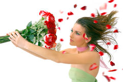 Beautiful girl with red roses against white Stock Image