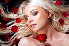 Beautiful girl with red roses in her blond hair. Royalty Free Stock Images