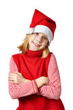 Beautiful girl in red Santa hat isolated Royalty Free Stock Photography