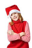 Beautiful girl in red Santa hat isolated Stock Images