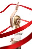 Beautiful girl With red satin ribbon stock photo