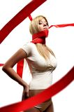 Beautiful girl With red satin ribbon Royalty Free Stock Photo