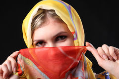 Beautiful girl  with a red scarf. Beautiful stylish girl  with the closed red scarf Royalty Free Stock Images