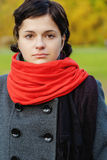 Beautiful girl with red scarf Stock Photo