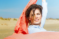 Beautiful Girl With Red Scarf on The Beach Stock Photography