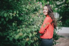 Beautiful girl in a red shirt posing on a street Stock Photography