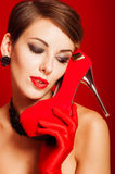 Beautiful girl with red shoes Royalty Free Stock Images