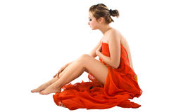 Beautiful girl  with red silk. Royalty Free Stock Image