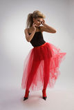 Beautiful girl in red skirt Royalty Free Stock Image