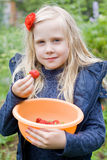 Beautiful Girl with Red Strawberry Royalty Free Stock Photo
