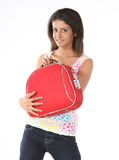Beautiful girl  with red suitcase Stock Photo