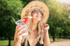 Beautiful girl with refreshing drink Royalty Free Stock Images